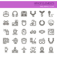 Hiphop Elements , Thin Line And Pixel Perfect Icons.
