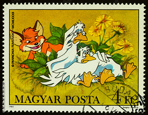 Valokuva  Geese and fox on postage stamp