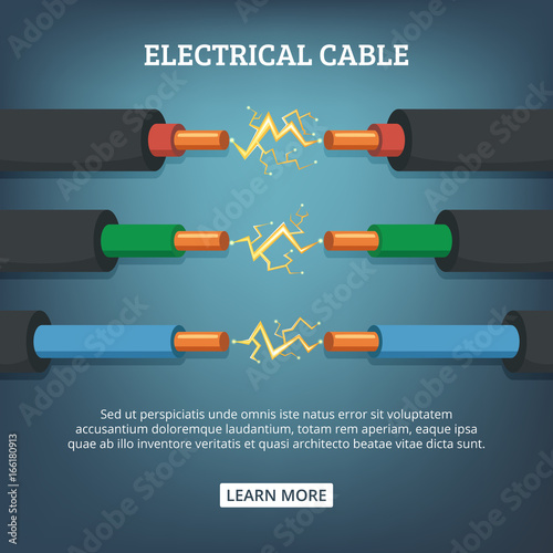 Poster with cartoon illustration of electrical cable wires with different amperage Wallpaper Mural