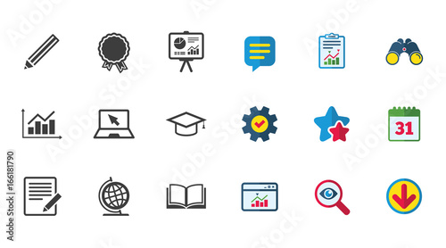 Education And Study Icon Presentation Signs Report Analysis And