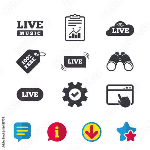 Live music icons  Karaoke or On air stream symbols  Cloud sign