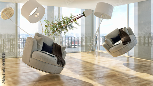 Obraz Zero gravity, modern bright living room, interiors. 3D rendering - fototapety do salonu