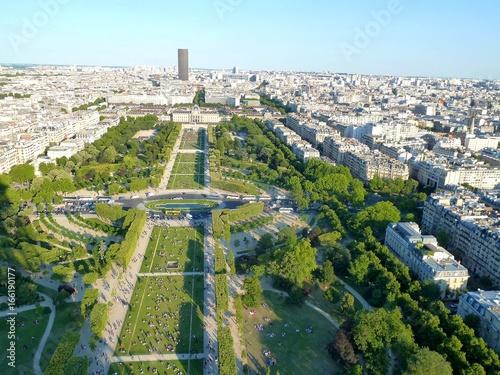 Poster  View over Paris, Parc du Champ de Mars, seen from Eiffel Tower