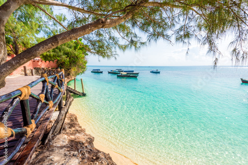 Spoed Fotobehang Zanzibar beautiful view from Turtles Island on clear blue ocean, Zanzibar