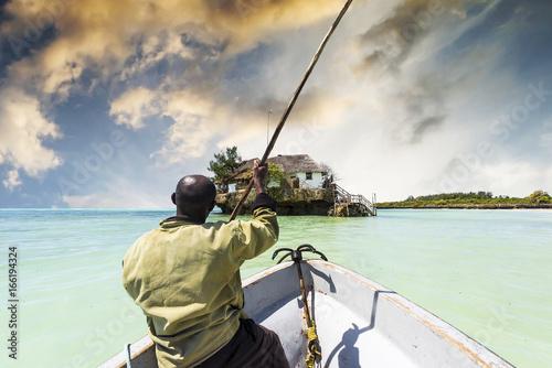 Printed kitchen splashbacks Zanzibar arfican on the boat sailing to the Rock restaurant in ocean on the horizon, Zanzibar