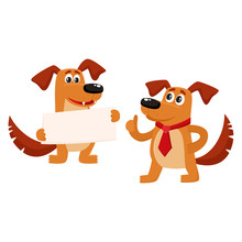 Two Funny Cute Brown Dog Chara...