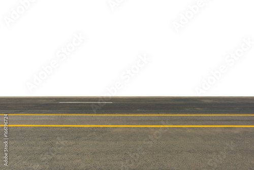 Side View Of Asphalt Road Isolated On White Background This Has Clipping Path