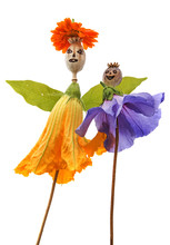Dolls From Poppy Heads And Leaves And Flowers - Art From Nature
