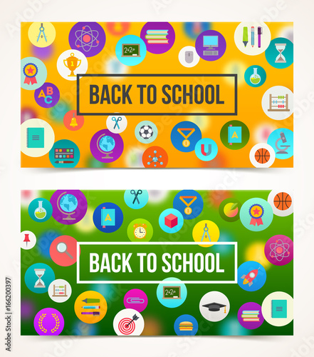 Welcome back to school two banners with greeting on a background welcome back to school two banners with greeting on a background with school objects and m4hsunfo