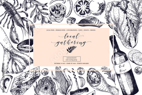 Vector hand drawn banner local gatherings. Frame composition. Wine, seafood, cheese, chicken meet, vegetables cabbage, tomato, olive, corn. Engraved art.