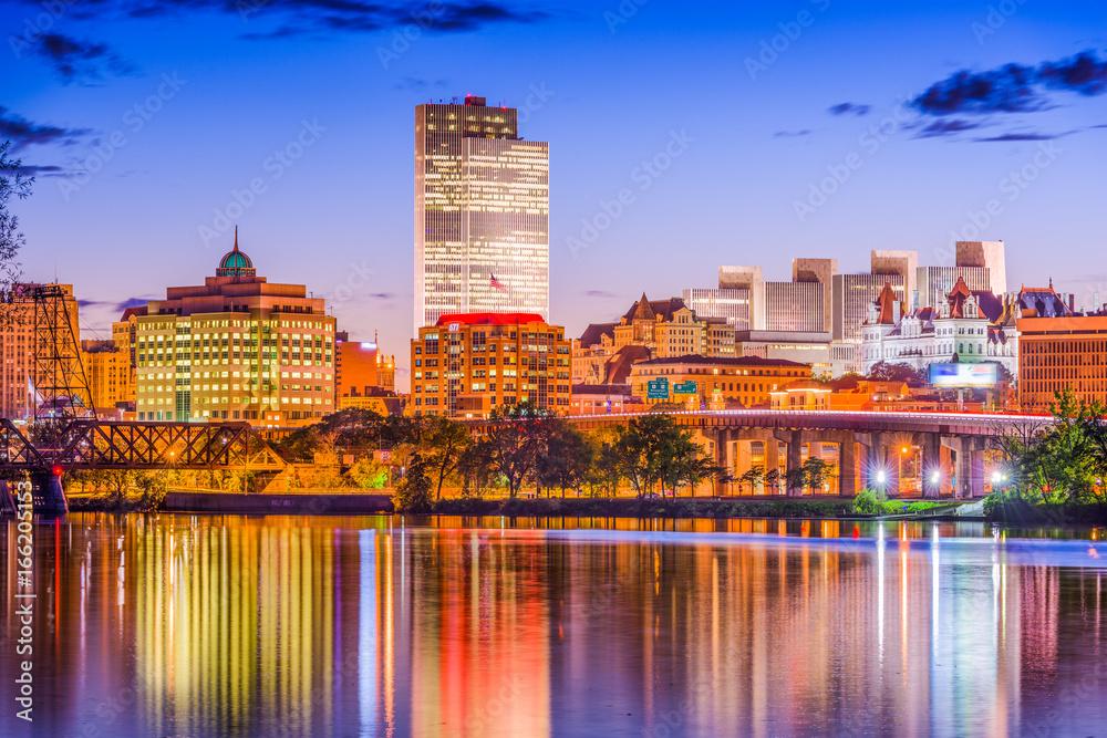 Fototapety, obrazy: Albany, New York, USA skyline on the river.