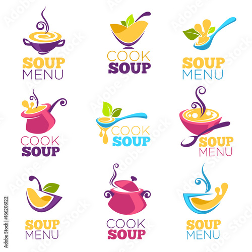 cook soup, vector collection of bowl full of tasty soup for your menu, logo, emblems and symbols