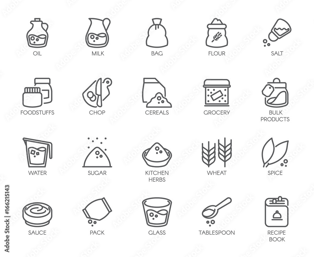 Fototapety, obrazy: 20 line icons on cookery theme. Ingredients for cooking and kitchen accessories. Outline logo isolated on white background. Editable Stroke. 48x48 Pixel Perfect