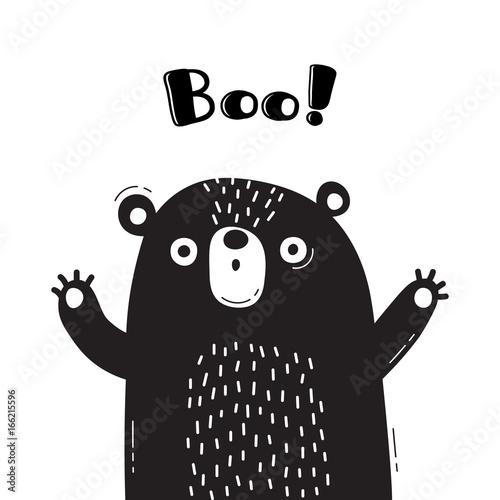 Fotografia, Obraz  Illustration with bear who shouts - Boo