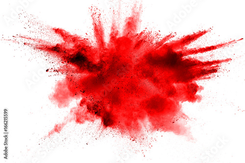 Photo  color powder explosion on white background.