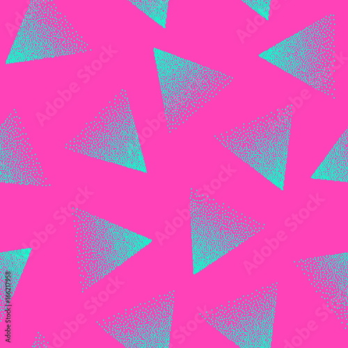 Vector Abstract Stippled Seamless Pattern  80s and 90s Years