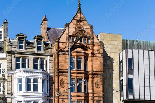 Plakat zabytkowy budynek miasta w Edynburgu w Szkocji