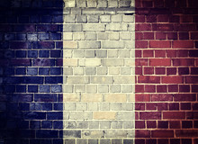 Grunge France Flag On A Brick ...