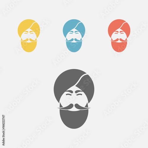 Indian Men icon, portrait. Canvas Print