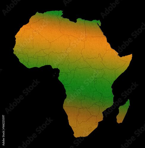 Valokuva  Africa continent outline silhouette map concept isolated on black background
