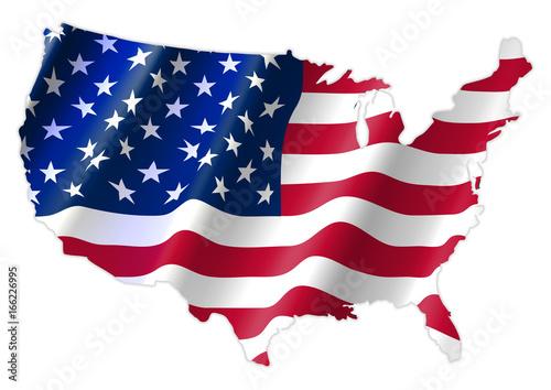 Fototapeta United States of America Map With Waving Flag obraz