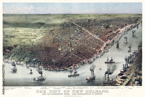 New Orleans, Louisiana, Old aerial view. Currier & Yves, New York, 1885