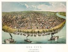 Saint-Louis, Missouri, Old Aerial View. Created By Janicke & Co., Publ. Hagen & Pfau On Anzeiger Des Westen, Saint Louis, 1859