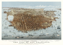 San Francisco, California, Old Aerial View. By Parsons & Charles,  Publ.  McQuillan (agent Currier & Yves), San Francisco, 1878