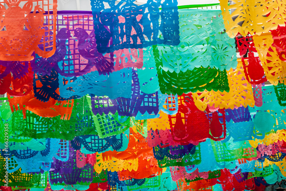 Fototapety, obrazy: Fondo colorido de adornos de papel tradicionales en México. Pelicula coco
