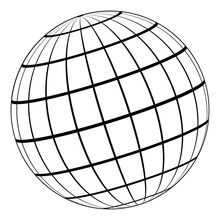 Globe 3D Model Of The Earth Or Planet, Model Of The Celestial Sphere With Coordinate Grid, Vector Field With Stripes And Lines Of Meridian And Parallel