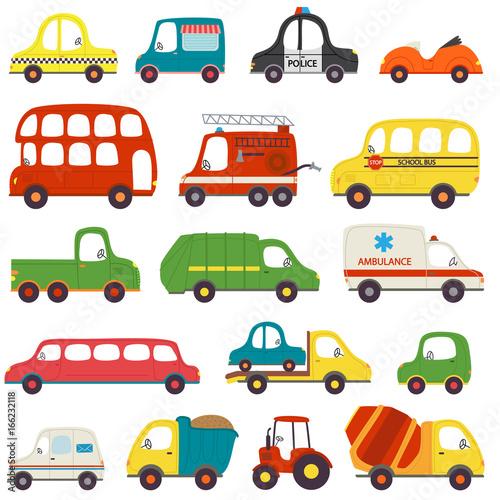 Foto op Aluminium Cartoon cars set of isolated transports - vector illustration, eps