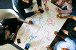 canvas print picture - Workspace: Overhead View As Diverse Team Writes Out Plans
