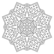 Christmas Mandala. Round Eleme...