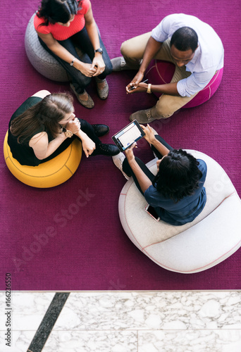 Fotografie, Obraz  Workspace: Overhead Group Of Casual Employee Meeting