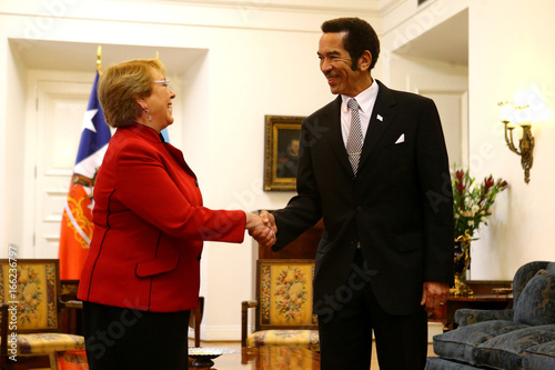 Chile's president Michelle Bachelet and Botswana's president