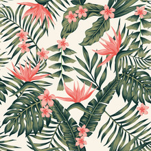Tropical Plants And Flowers Abstract Colors Seamless Light Yellow Background