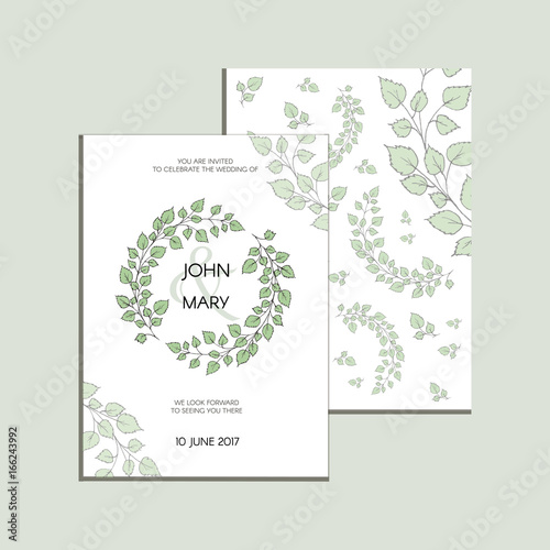 Vector invitation with green leaves modern wedding collection vector invitation with green leaves modern wedding collection thank you card save the maxwellsz