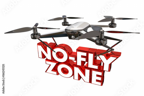 Photo No-Fly Zone Restricted Airspce Drone Flying Carrying Words 3d Illustration
