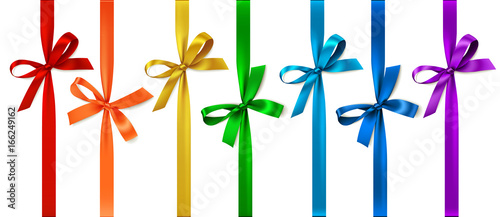 Fotografie, Obraz  Vector set of decorative bows with vertical ribbon isolated on white