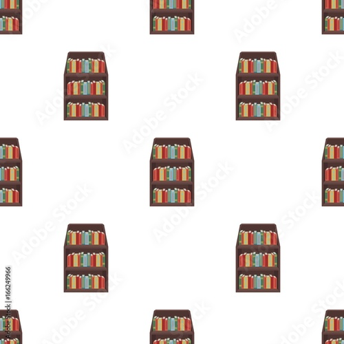 Fotobehang Pixel Bookcase icon in cartoon style isolated on white background. Library and bookstore symbol stock vector illustration.