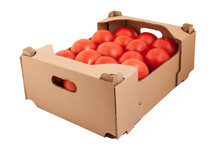 Fresh And Tasty Organic Tomatoes In Cardboard Box, Isolated On White