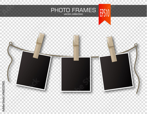 Fotografie, Obraz  Set of photo frames with clothespin on a transparent background