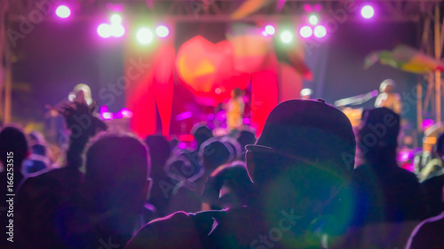Silhouette of man in the crowd in baseball cap on reggae concert bright lights w Canvas Print