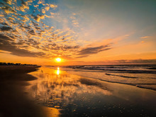 Sunrise, Clouds And Reflection At Low Tide Over Folly Beach, Charleston