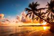 Palmtree silhouettes on the tropical beach, Punta Cana, Dominican Republic