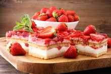 Strawberry Cake On Wooden Board With Fresh Strawberries