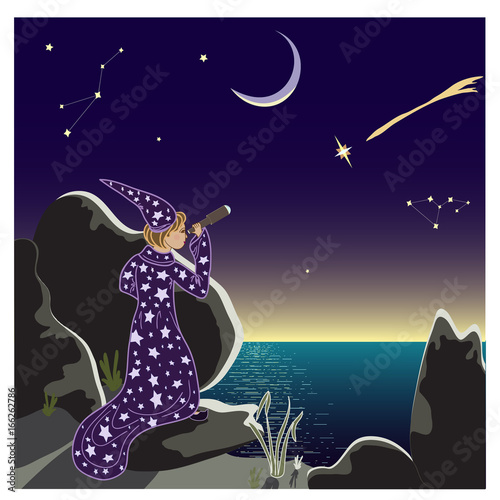 Male astronomer looking through a telescope at the starry sky Wallpaper Mural