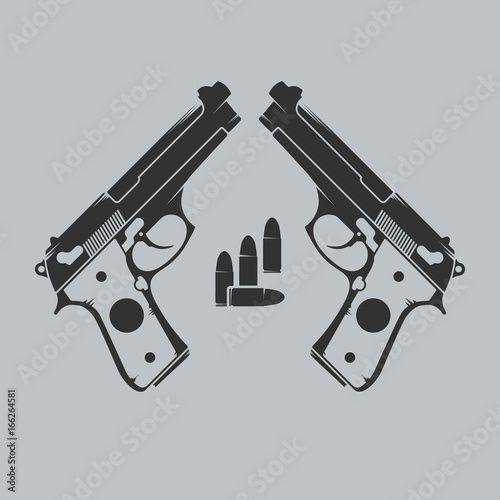 Two guns and ammo. Emblem with handgun and bullets. Wallpaper Mural