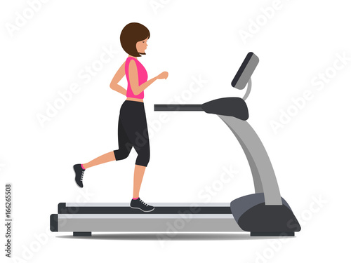Fotografia Young woman in a sporty uniform is running on a treadmill