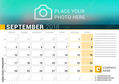 calendar for september 2018 vector design print template with place